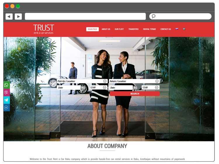 TrustRent.az / Saytlarin Hazirlanmasi / Создание сайтов в Баку