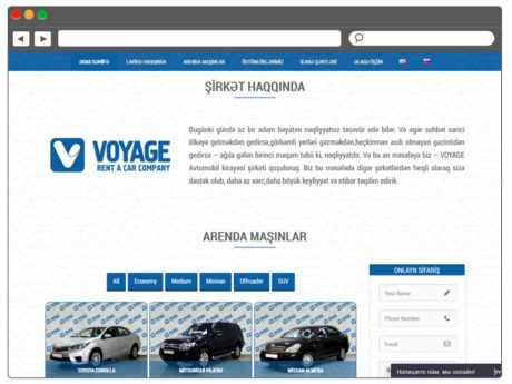 Landing Page для компании по прокату авто