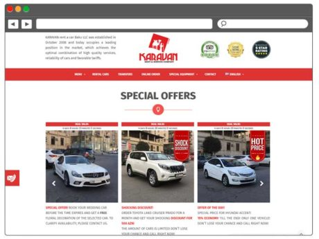 Rent A Car şirkəti üçün Müasir Veb-sayt / Saytlarin Hazirlanmasi