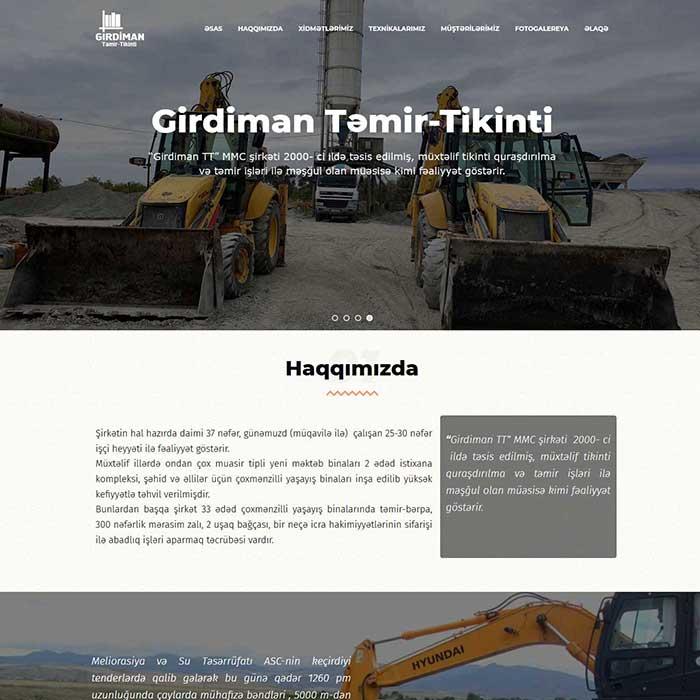 Təmir-Tikinti şirkəti üçün Landing Page Yaradılması / Разработка веб сайта для строительной компании